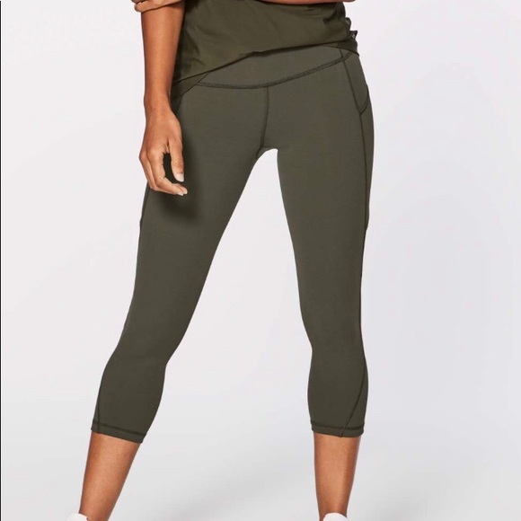 2ddcc5b16e lululemon athletica Pants | Lululemon Run On Crop Olive Green 4 ...